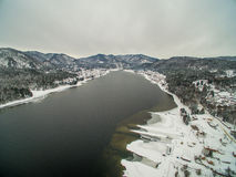 Teletskoye lake at winter. Aerial Royalty Free Stock Photos
