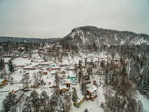 Teletskoye lake at winter. Aerial Royalty Free Stock Images
