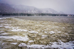 Teletskoye lake at winter Stock Image
