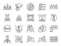 Teleturniej ikony set Zawrzeć ikony jako piosenkarz, quiz, nagroda, rywalizacja, konkurs, sądzi panelu, TV programa i więcej, royalty ilustracja