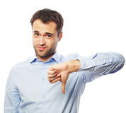 Teleurgestelde jonge bedrijfsmens met neer duim royalty-vrije stock foto