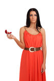 Teleurgestelde vrouw met verlovingsring in doos Royalty-vrije Stock Foto