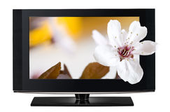 televisão 3D. Tevê LCD em HD 3D. Foto de Stock