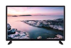 Televisão a alta definição moderna com imagem do ro do por do sol Foto de Stock