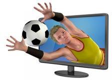 Televisão 3D e futebol - 3D ilustração stock