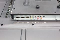 A televisão de definição alta entrou o painel, os conectores da entrada da televisão fotografia de stock