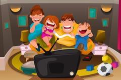 Televisão de observação da família Imagem de Stock Royalty Free