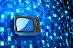 Televisão do Internet, telecomunicação, meios de transmissão e conceito da informática  Foto de Stock