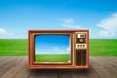 Televisão ou tevê com grama verde fotos de stock