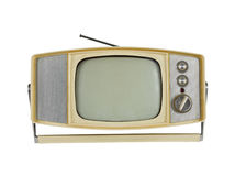 televisão portátil dos anos 60 com carrinho do punho Imagens de Stock