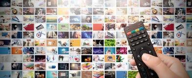 Televisão que flui o vídeo Tevê dos meios por encomenda fotos de stock royalty free