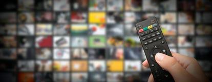 Televisão que flui o vídeo Tevê dos meios por encomenda fotografia de stock