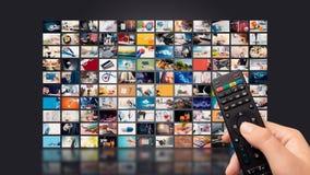 Televisão que flui o vídeo Tevê dos meios por encomenda imagem de stock