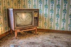 Televisão retro abandonada Fotografia de Stock