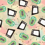 A televisão retro e o vintage transmitem por rádio no teste padrão abstrato do vetor do fundo Imagens de Stock Royalty Free