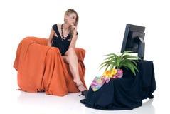 Televisión con clase de la señora Imagenes de archivo
