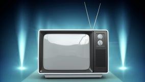 Televisión con las luces que destellan almacen de metraje de vídeo