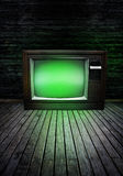 Televisión con resplandor verde Imagen de archivo