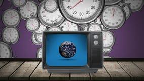Televisión con un globo en su pantalla