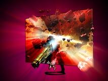 televisión 3D y 4k stock de ilustración