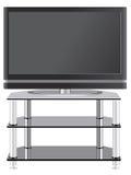 Televisión de la pantalla plana en soporte moderno de la TV Foto de archivo libre de regalías