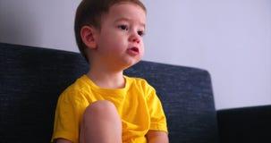 Televisión de observación linda del pequeño niño de los jóvenes en un sofá de la sala de estar antes del sueño almacen de metraje de vídeo
