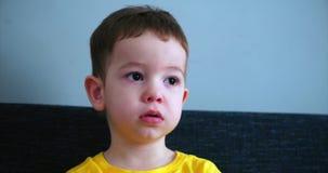 Televisión de observación linda del pequeño niño de los jóvenes en un sofá de la sala de estar antes del sueño almacen de video