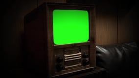 Televisión del vintage con la pantalla verde Color de la sepia
