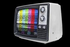 Televisión del vintage con las barras de color estáticas Fotografía de archivo libre de regalías