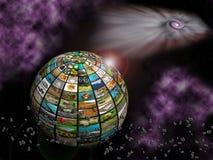 Televisión en espacio ilustración del vector