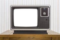 Televisión portátil análoga en la tabla con la pantalla cortada Imágenes de archivo libres de regalías