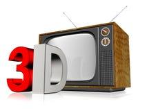 Televisión vieja 3d Foto de archivo libre de regalías
