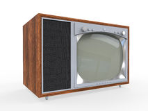 Televisión vieja del vintage con el caso de madera Fotos de archivo libres de regalías