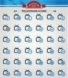 Televisie, de ionenpictogrammen van Applicat, Blauwe versie Royalty-vrije Stock Afbeelding