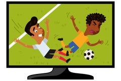 Televisie die beeldverhaalvoetbalster tonen die tegenstander op voetbalgebied aanpakken stock illustratie