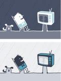 Televisie gekleurd beeldverhaal Royalty-vrije Stock Afbeelding