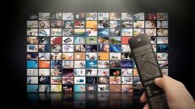 Televisie het stromen video Media TV op bestelling stock afbeelding