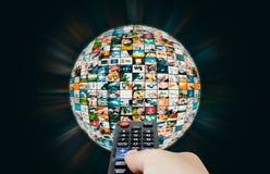 Televisie-uitzending de abstracte samenstelling van de gebiedbol van verschillende media stock foto's