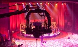 Televisie-uitzending van het theater Professionele digitale videocamera stock foto's