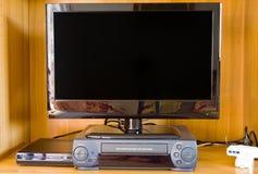 Televisie, vcr en dvd speler royalty-vrije stock foto