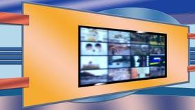 Televisie Virtuele Vastgestelde Achtergrond voor Redactiekamer stock videobeelden