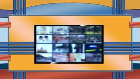 Televisie Virtuele Vastgestelde Achtergrond voor Redactiekamer stock footage