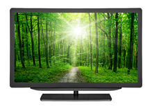 Television. Flat television on the white backgrounds. monitor computer Stock Photo