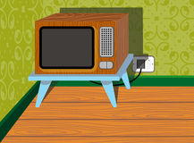 Television. Illustration of a television in the corner of a room royalty free illustration