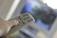 Television. Remote changing stations royalty free stock photos