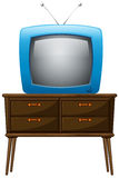 A television above the wooden table Royalty Free Stock Image