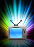 Television on Abstract Spectrum Background Stock Photography