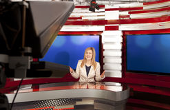 A television anchorwoman at studio Stock Images