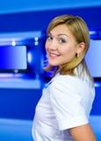 Television anchorwoman at TV studio Royalty Free Stock Photography