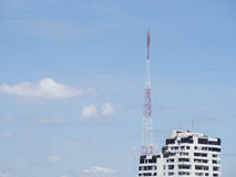 Television antenna. On building in city stock photo